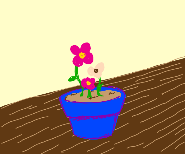 Blue Flowerpot with pink flowers on table