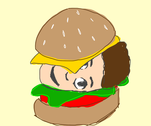 A burger, but with a head instead of a patty.