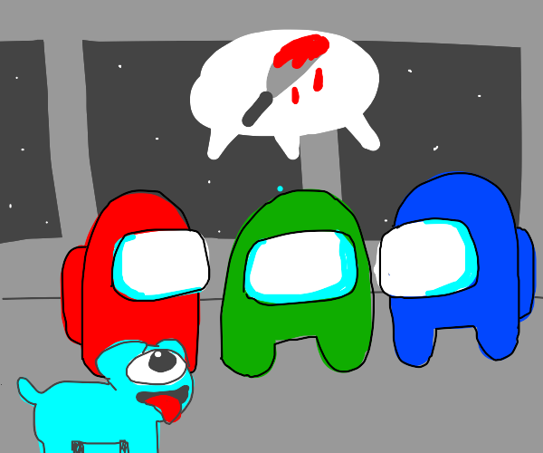 Colored astronaut dogs arguing about murder