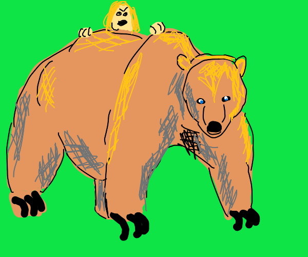 Angry blonde on a bear.