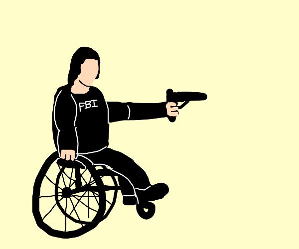 Disabled FBI agent with gun makes an arrest