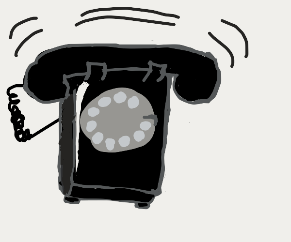A old phone with circle button choice, ringin