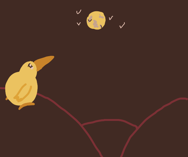 Lonely bird on a hill looking at the moon