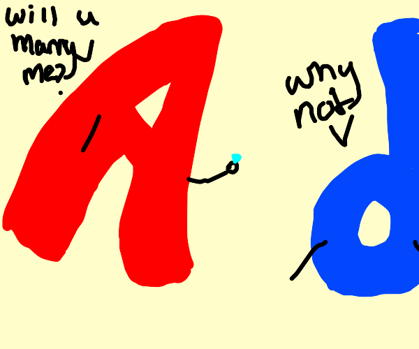 letter a proposes to letter d, d says yes