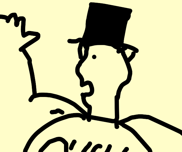 A Chad with horns and a top hat