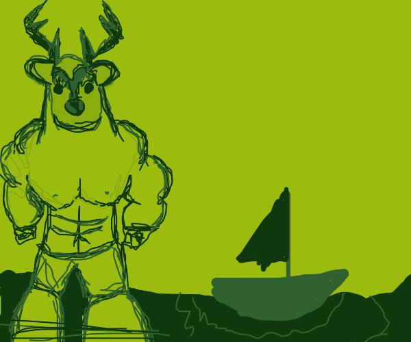 Giant deer man in the sea