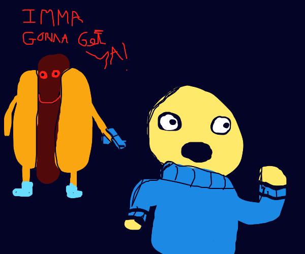 running away from hotdog
