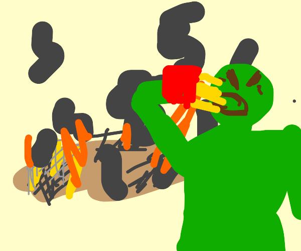 Hulk at burned down MCdonalds eating fries