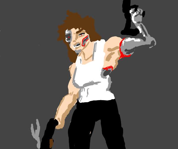 Cyborg with a gun