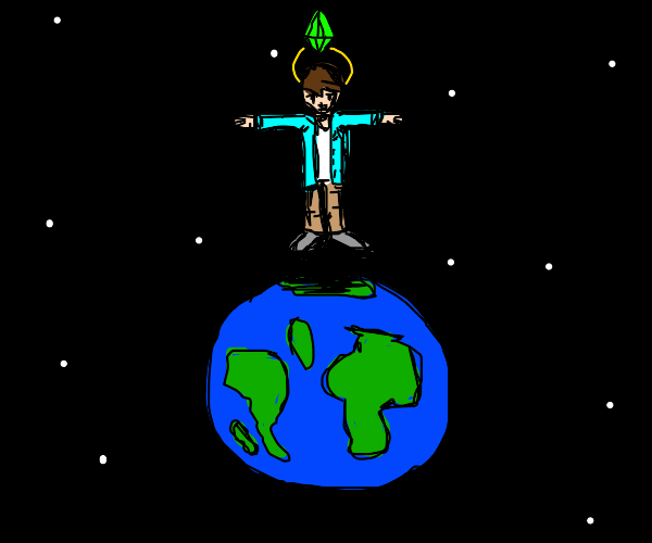 sim becomes god and t-poses over earth