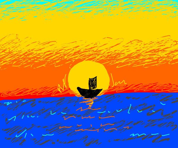 Silhouette of a ship against the sunrise