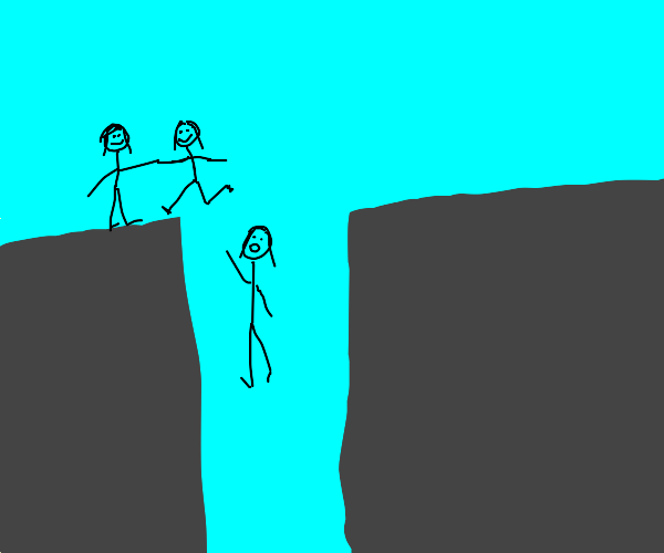 3 girls try to jump across cavern, 1 fails