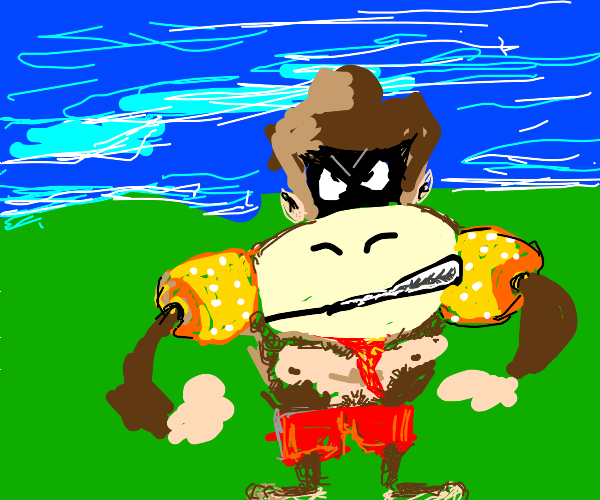 donkey kong angry and in shorts and arm float