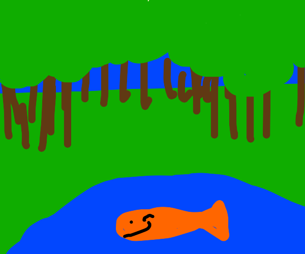a happy fish in a lake in a woodland clearing