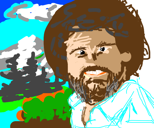 Bob Ross being happy