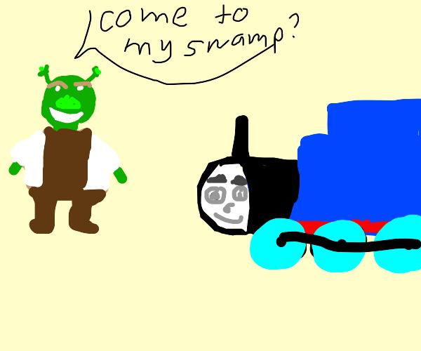 Shrek asks thomas the train over to his swamp