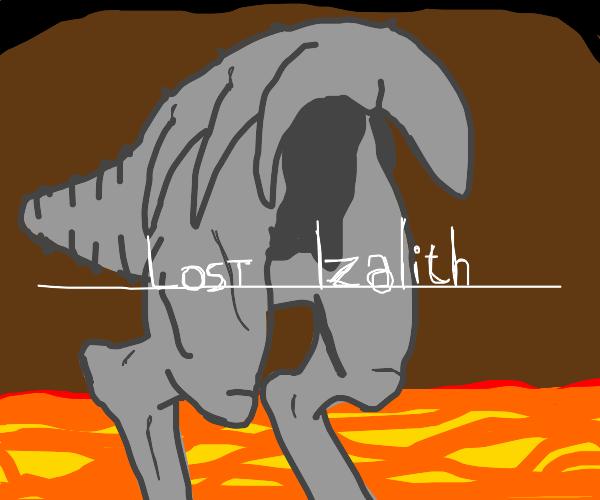 Cut rear half of a dinosaur gets roasted