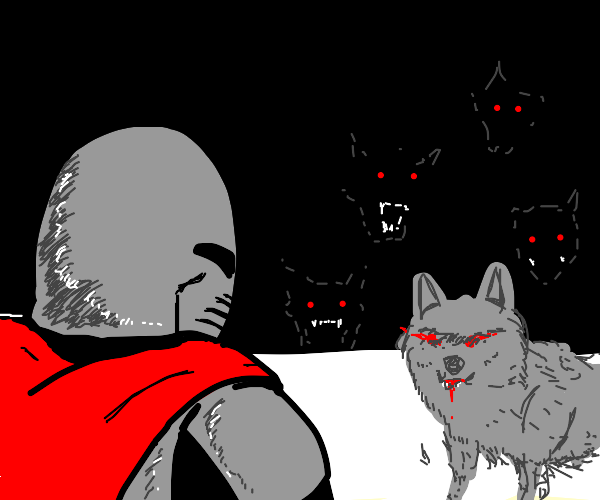 knight fights evil wolves
