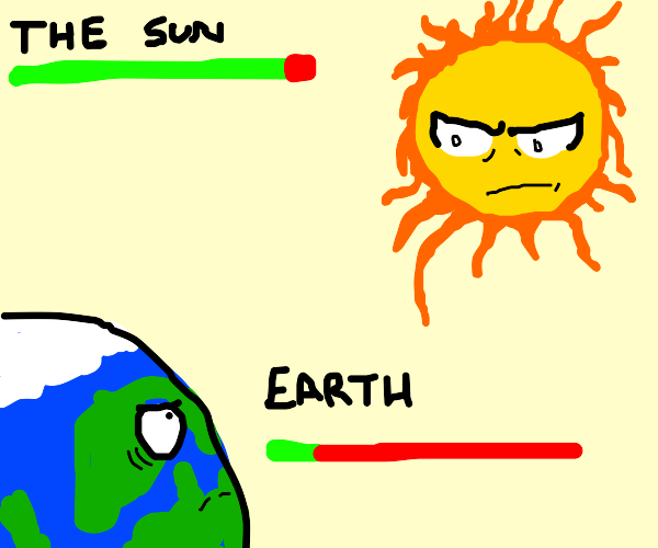 Sun vs Earth RPG battle