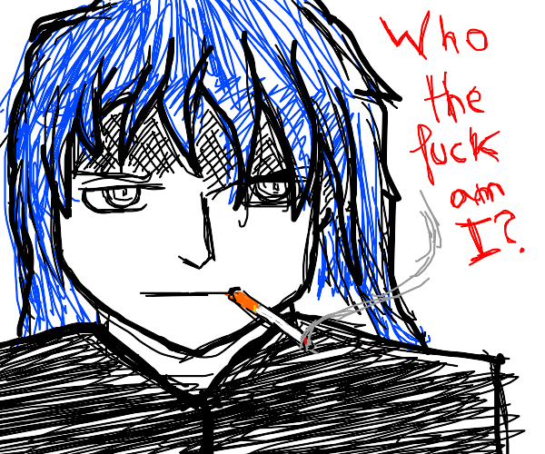 Smoking man doesn't know who he is