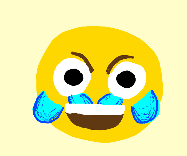 The cursed laugh emoji with tears & open eyes