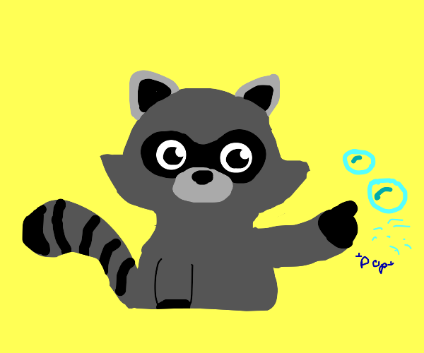 Raccoon popping bubbles
