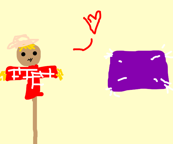 Scarecrow loves a purple pillow