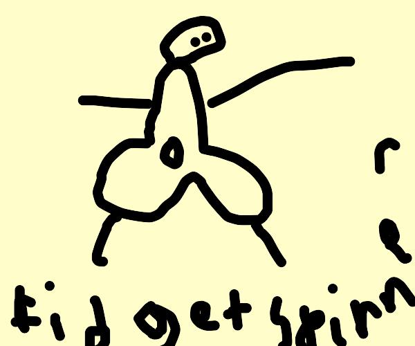 Fidget spinner man in video game on fridge..