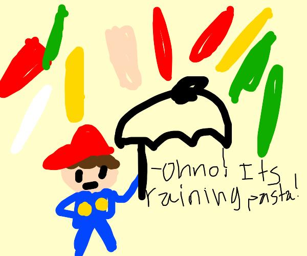Mario underneath rain of pasta