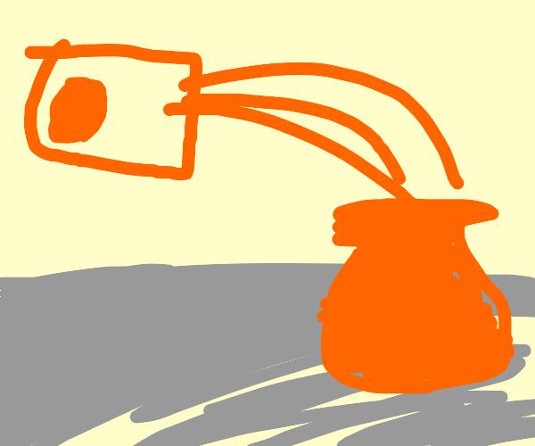 Straining orange juice into a vase.
