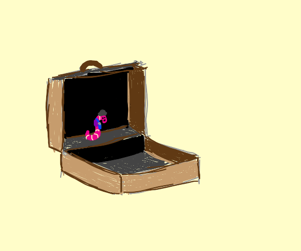 Pink business worm in a briefcase