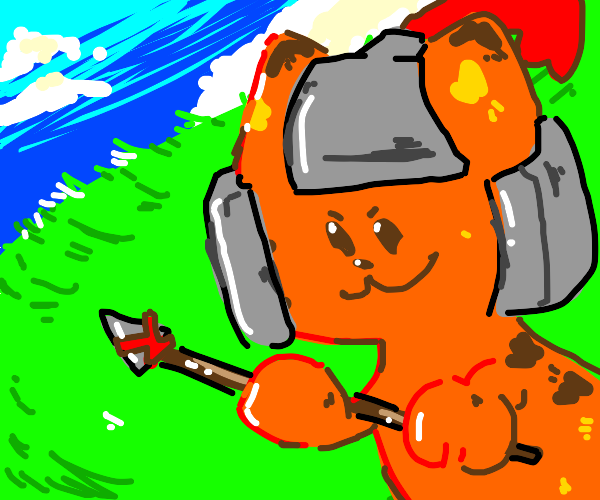 Armored ginger cat wielding a spear