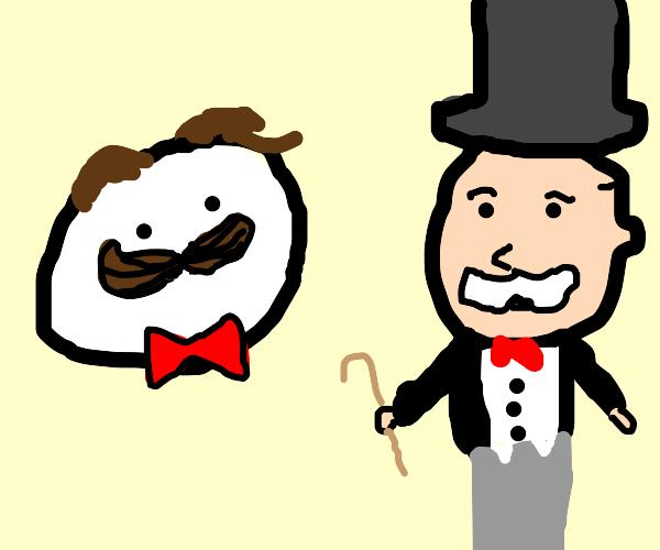 mr monopoly and pringles guy