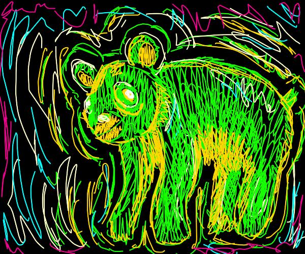 A neon bear