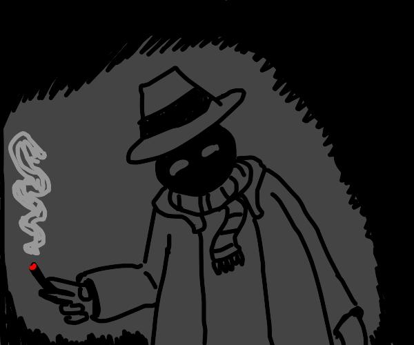 dark figure w/ scarf+coat smokes in shadows