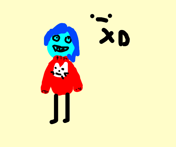 Blue person with a cat sweater