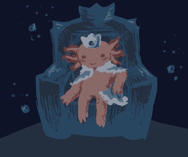 Axolotl in a throne