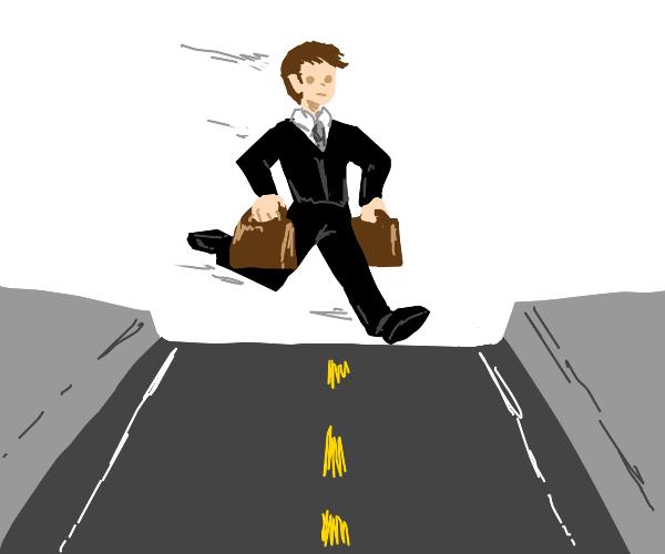 Businesses man crosses road