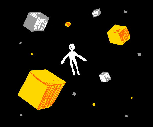Man surounded by yelow n white floating cubes