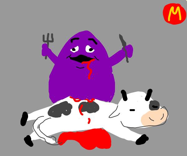 mcdonald's grimace eats a cow