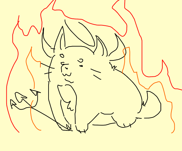 cute baby cat devil with halo and fork