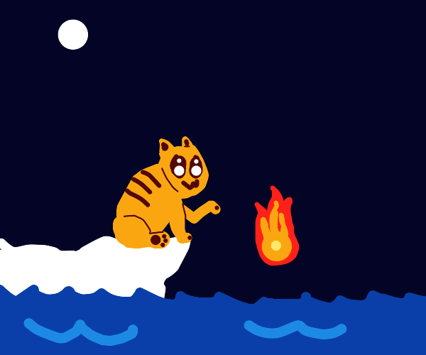 Owo cat throws fire into water