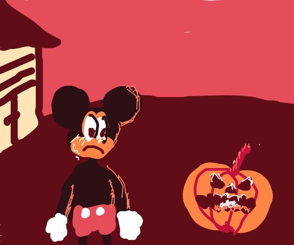 Mickey Mouse cries upon seeing jack o lantern