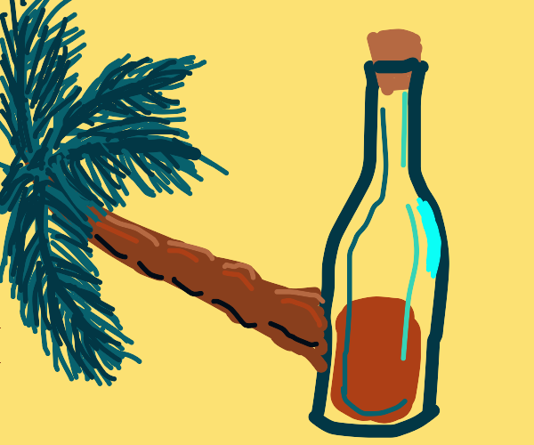 Palm tree sprouting out side of wine bottle