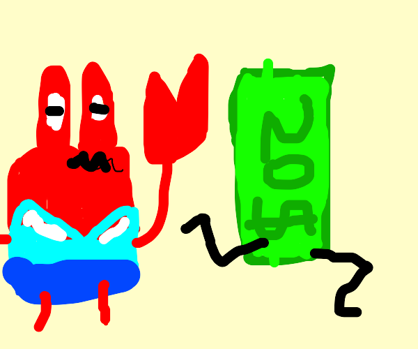 Mr krabs chasing after money with legs