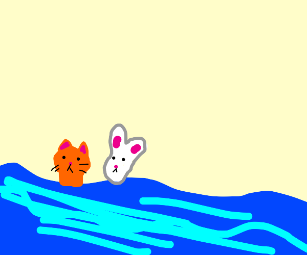 cat and Rabbit getting swept away by water