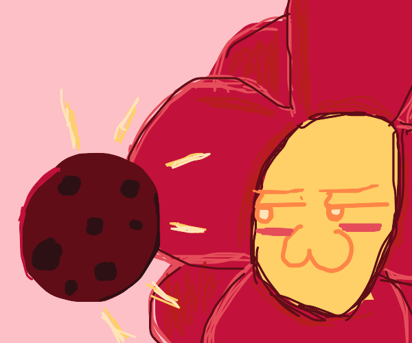 Red flower has a cookie.
