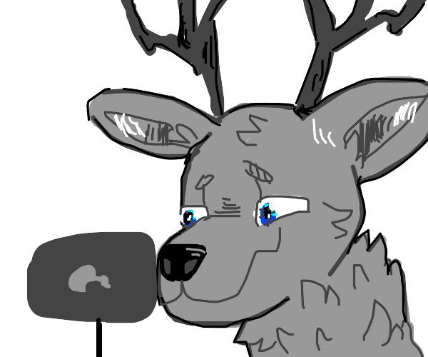 Dear/wolf hybrid Furry playing videos