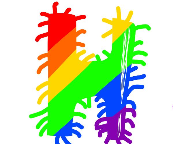 a hairy rainbow H