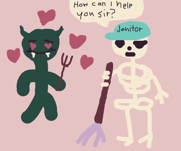 Green devil falling in love w/ a skull staff